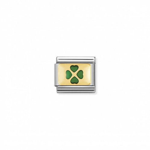 Nomination Classic Good Luck Green 4 Leaf Clover Link