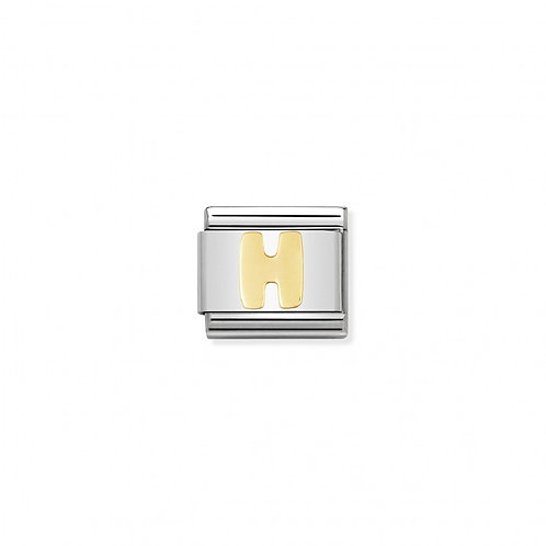 Stainless steel Letter H Link in 18K gold