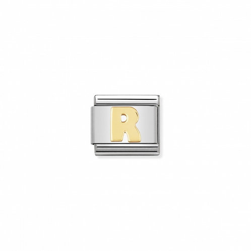 Stainless steel Letter R Link in 18K gold
