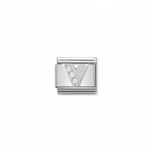 Alphabet Letter V with Cubic Zirconia