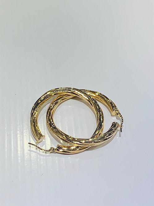 Fancy hoops  9ct yellow gold earrings