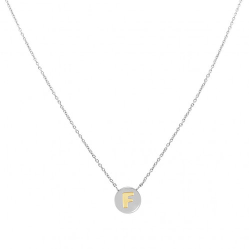 NECKLACE WITH LETTER F IN GOLD