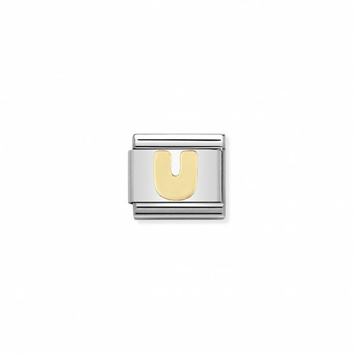 Stainless steel Letter U Link in 18K gold