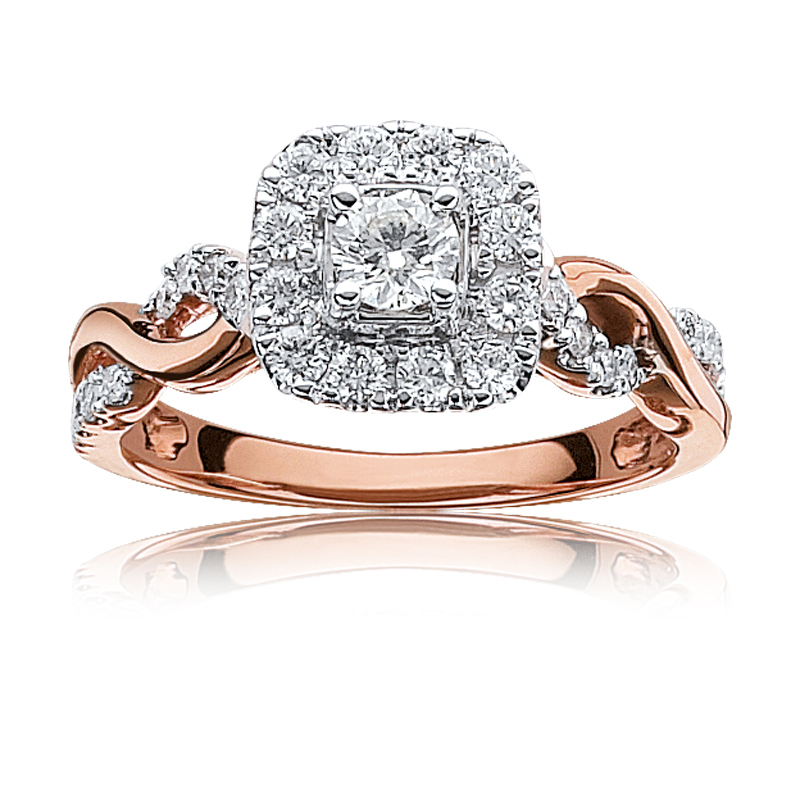 18ct Rose Gold with diamonds