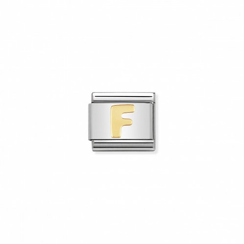 Stainless steel Letter F Link in 18K gold