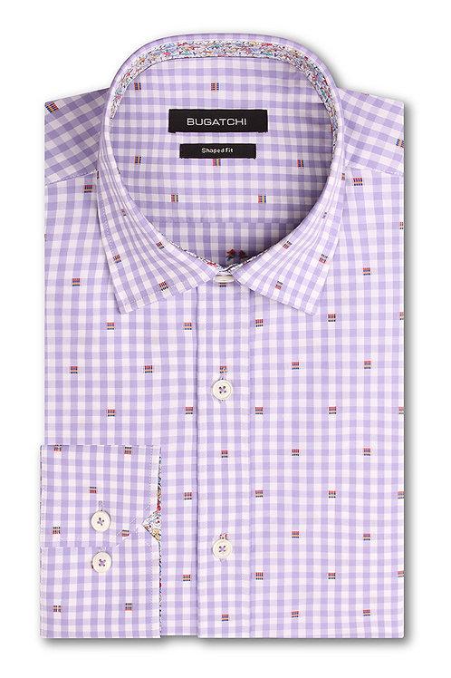 Bugatchi Lavender Cotton Check Shirt