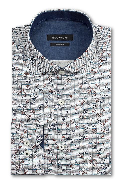 Bugatchi Floral Print Cotton Shirt