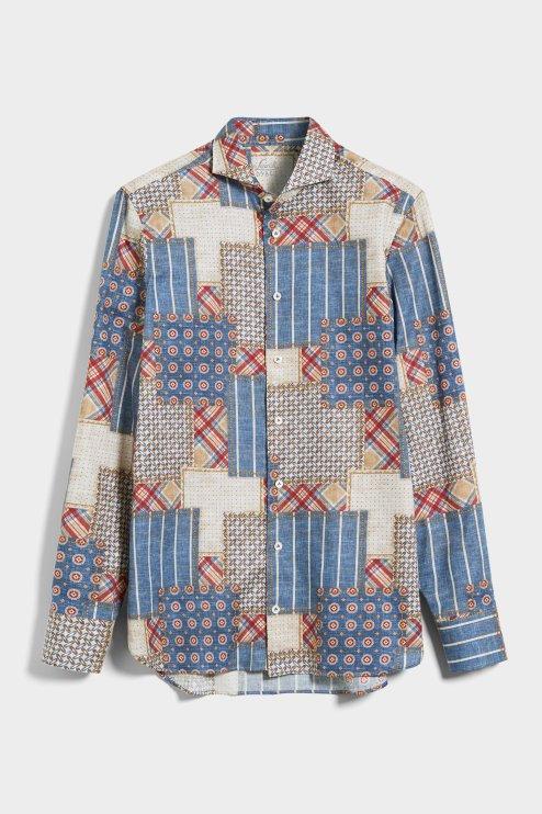 Van Laack Casual Shirt, Exclusive Patchwork Print