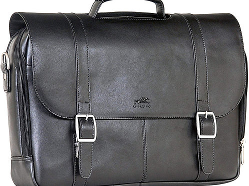 Mancini Double Compartment Briefcase Black