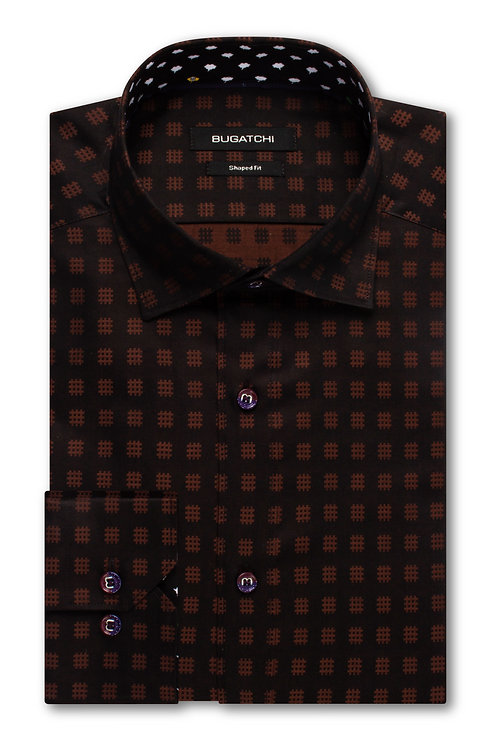 Bugatchi Shaped Fit Geometric Jacquard Chocolate