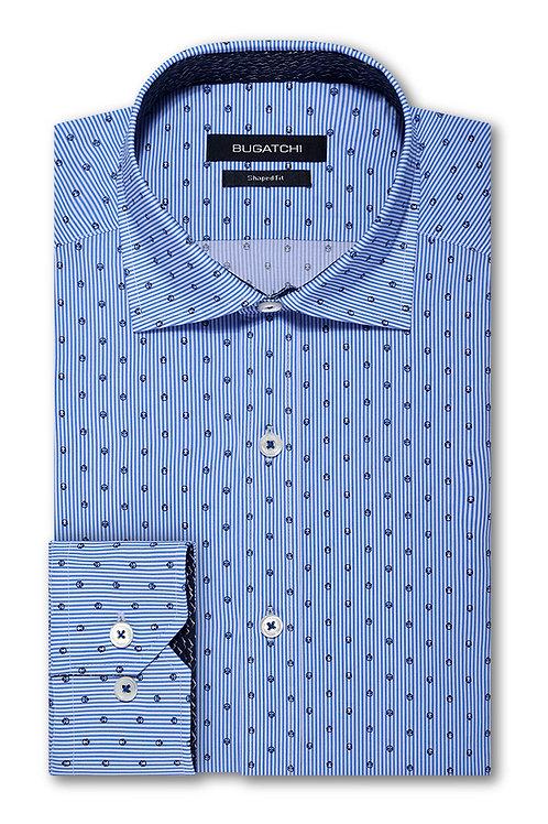 Bugatchi Shaped Fit Blue Stripe