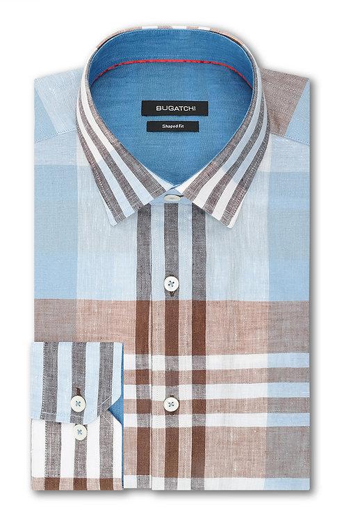 Bugatchi Cotton & Linen Check Shirt