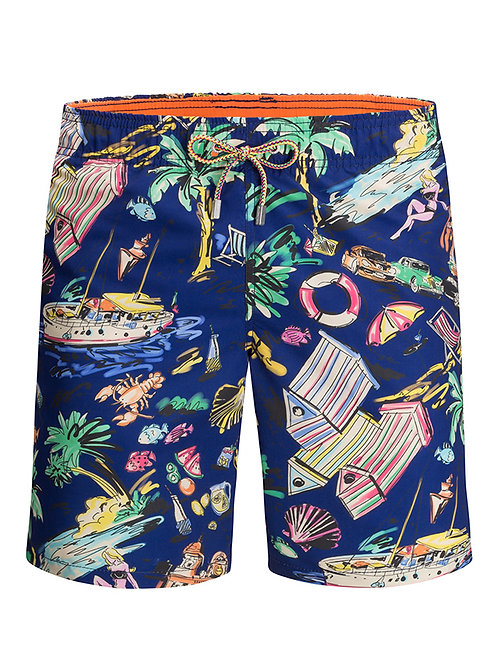 Bugatchi Printed Swim Trunks