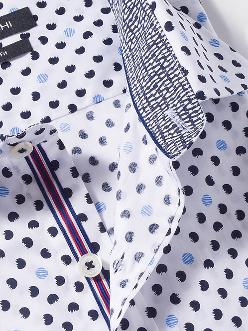 Bugatchi Shaped Fit Circle Print Cotton Shirt