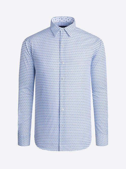 Bugatchi Blue Half Circle Cotton Shirt