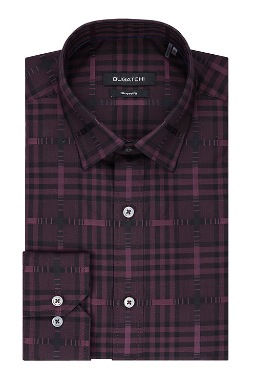 Bugatchi Burgundy Check Shirt