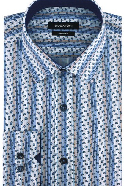 Bugatchi Cotton Stripe & Paisley Shirt