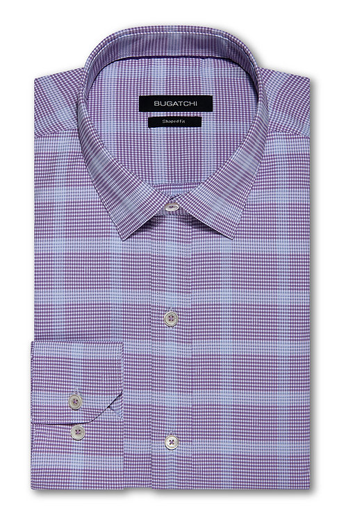 Bugatchi Shaped Fit Performance Lavender Check