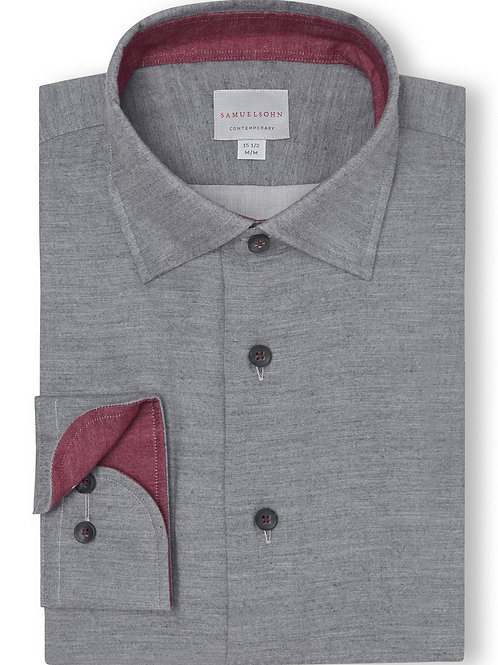 Samuelsohn Grey Soft Hidden Button-down