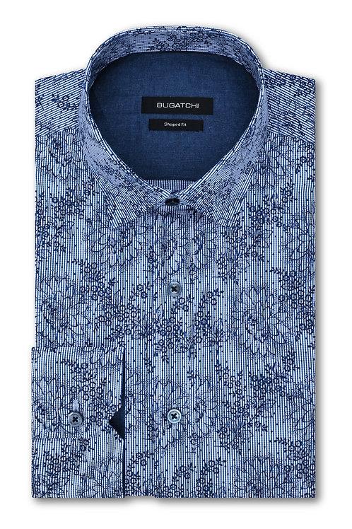 Bugatchi Striped Floral Print Cotton Shirt