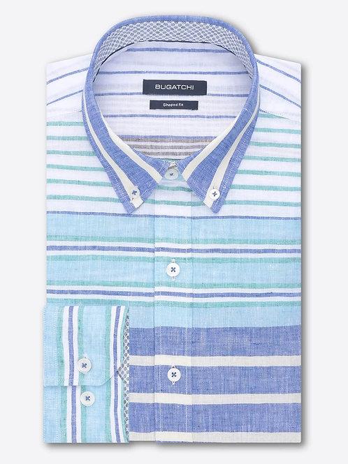 Bugatchi Block Stripe Linen Shirt