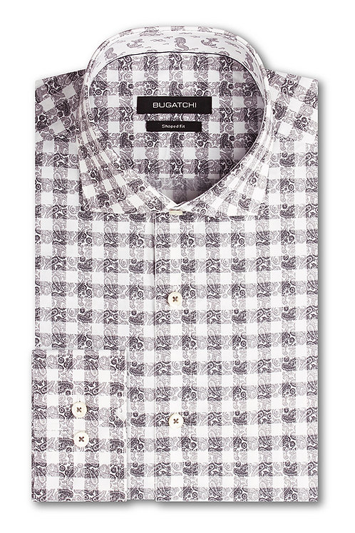 Bugatchi Shaped Fit Grey Paisley Check