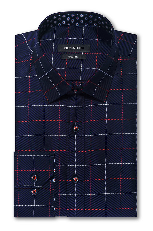 Bugatchi Shaped Fit Checked Cotton