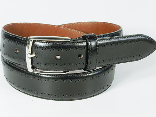 Benchcraft Brogue Leather Belt Black