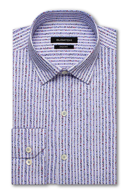 Bugatchi Shaped Fit Performance Lavender Stripe