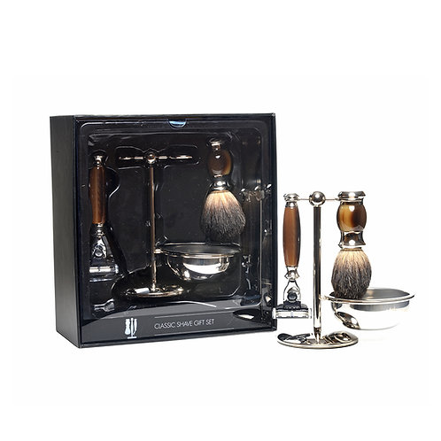 Shave Set 4 Piece Faux Horn