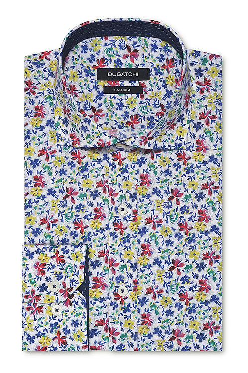 Bugatchi Flower Print Cotton Shirt