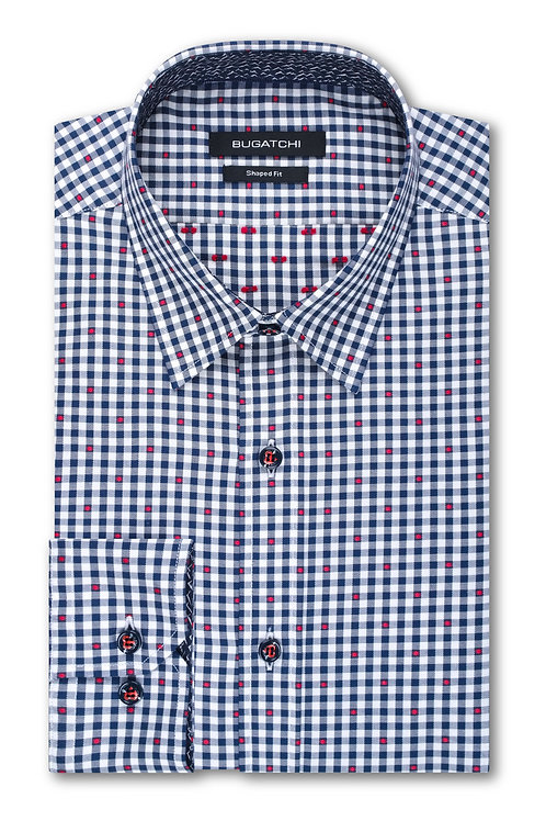 Bugatchi Cotton Navy Check Shirt
