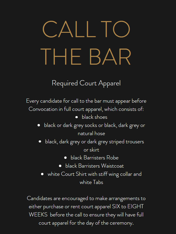 CALL TO THE BAR