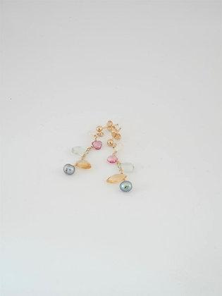 ブリオレット型プレシャスマルチストーンのピアス  / Precious multi stone pierce