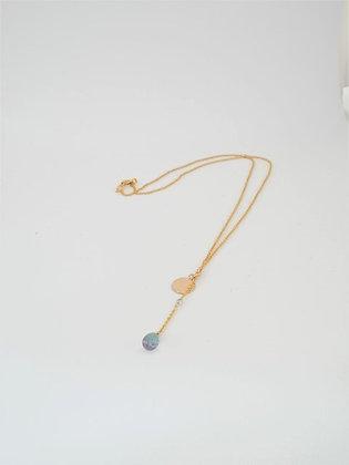 プレシャストパーズのT字ペンダントネックレス / Precious topaz necklace