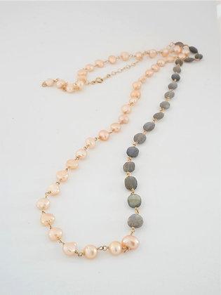 プレシャスラブラドライトとピンクパールの2色ミディアムロングネックレス / Pre labradolite & pink pearl long necklace