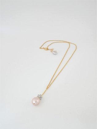 トパーズボールとピンクパールのT字ペンダントネックレス / Topaz ball & pink pearl necklace