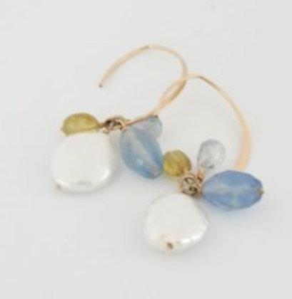 オーバルパールとマルチストーンのマーキースフープピアス/ Pearl & multi stone hoop pierce