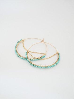 フープ大チェーンピアス(ターコイズ) / Hoop chain pierce L (Turquoiz)