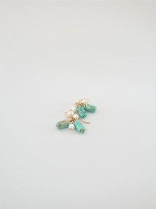 ターコイズとパールの2色ピアス  / Turquoiz & Pearl Pierce
