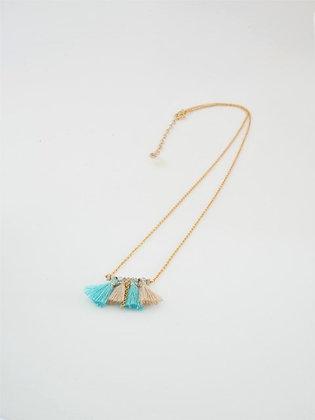 ミニタッセルとブルージルコンのネックレス  / Mini tassel & blue zircon necklace