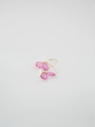 プレシャスピンクトパーズのシェルフラワーピアス  / Precious pink topaz shell flower pierce