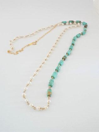 ターコイズとパールの2色ミディアムロングネックレス  / Turquoiz & pearl long necklace