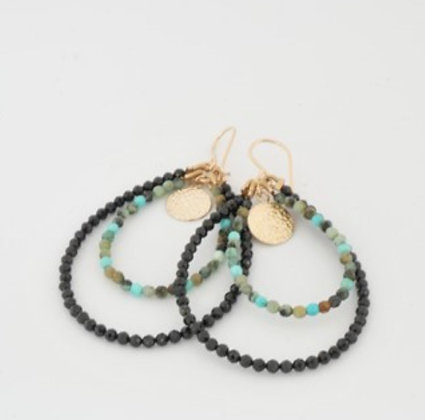 アフリカンターコイズとオニキスの2連ドロップフープピアス / African turquoiz & onyx 2 hoop pierce