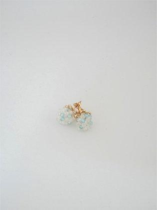 天然ジルコン&ムーンストーンの2色ボールスタッドピアス / Natural zircon & moonstone ball pierce