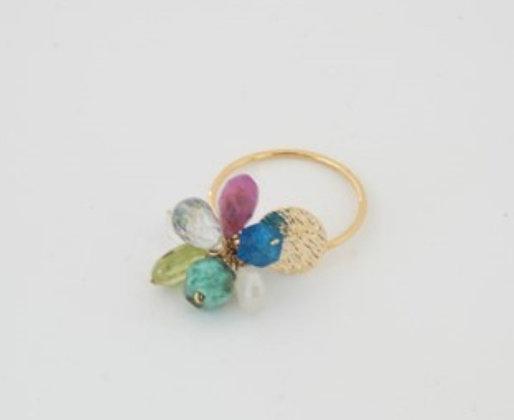 マルチストーンドロップチャームリング / Multi stone drop charm ring