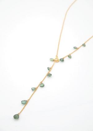 【2020 New】宝石質グリーンサファイアのチェーンラリエットネックレス