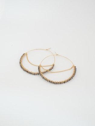 フープ大チェーンピアス(パイライト) / Hoop chain pierce L (Pyrite)