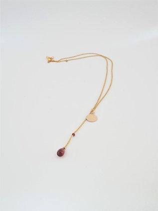 プレシャスガーネットのT字ペンダントネックレス / Precious garnet necklace