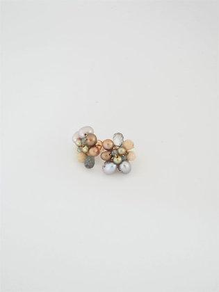 パールとマルチストーンのスタッドピアス(トパーズ) / Pearl & multi stone pierce (Topaz)
